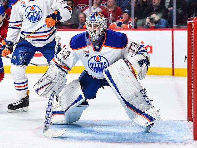 "MONTREAL, QC – FEBRUARY 05: <a class=""link rapid-noclick-resp"" href=""/nhl/players/4854/"" data-ylk=""slk:Cam Talbot"">Cam Talbot</a> #33 of the <a class=""link rapid-noclick-resp"" href=""/nhl/teams/edm/"" data-ylk=""slk:Edmonton Oilers"">Edmonton Oilers</a> protects his net during the NHL game against the <a class=""link rapid-noclick-resp"" href=""/nhl/teams/mon/"" data-ylk=""slk:Montreal Canadiens"">Montreal Canadiens</a> at the Bell Centre on February 5, 2017 in Montreal, Quebec, Canada. The Edmonton Oilers defeated the Montreal Canadiens 1-0 in a shootout. (Photo by Minas Panagiotakis/Getty Images)"
