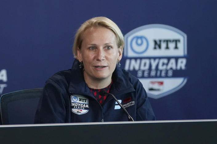 Beth Paretta speaks during a news conference at the Indianapolis Motor Speedway, Tuesday, Jan. 19, 2021, in Indianapolis. Paretta and Swiss driver Simona de Silvestro are teaming up to put a female-run race team in this year's Indianapolis 500. (AP Photo/Darron Cummings)
