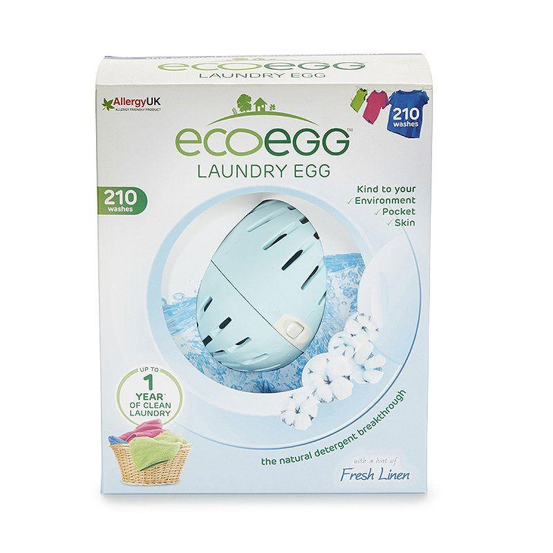 "<p>Ecoeggs are a long-lasting alternative to laundry capsules and detergents. It's a recycled plastic egg, filled with mineral pellets, which you put in your washing machine as you would a normal capsule. The refillable mineral pellets are proven to be good for allergy-prone and sensitive skin and are also much better for the waterways. </p><p><strong>Tip! </strong>The Ecoegg is great for everyday washing but you might want to consider a <a href=""https://www.ecover.com/products/stain-remover/"" target=""_blank"">stronger stain remover</a> on dirtier clothes or the natural bleach mentioned in the next few slides. You can also add extra scent to your laundry with essentials oils. </p><p><a class=""body-btn-link"" href=""https://go.redirectingat.com?id=127X1599956&url=https%3A%2F%2Fwww.lakeland.co.uk%2F26082%2Fecoegg%2BLaundry%2BEgg%2B210%2BWashes%2BRefill%2BPellets%2B-%2BFresh%2BLinen&sref=https%3A%2F%2Fwww.housebeautiful.com%2Fuk%2Flifestyle%2Fcleaning%2Fg29430451%2Fplastic-free-kitchen-cleaning-laundry-home-products%2F"" target=""_blank"">BUY NOW, £6.99, Lakeland</a></p>"