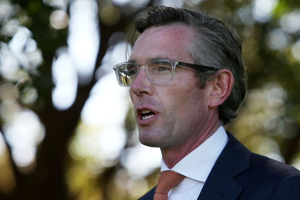 NSW Premier Dominic Perrottet attends a press conference at Government House.