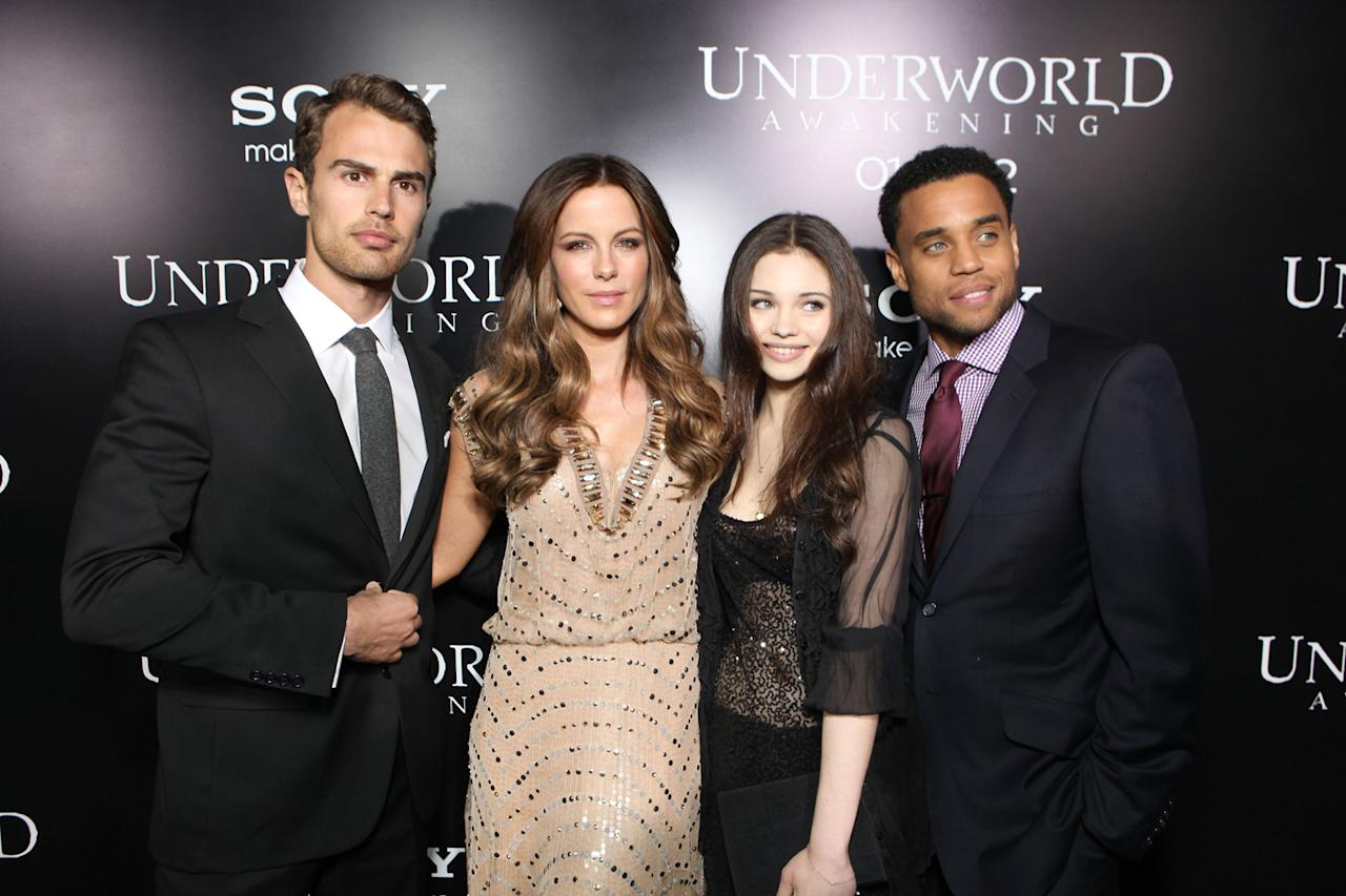 """Theo James, Kate Beckinsale, India Eisley and Michael Ealy at the Los Angeles premiere of """"<a href=""""http://movies.yahoo.com/movie/underworld-awakening/"""">Underworld Awakening</a>"""" on January 19, 2012."""