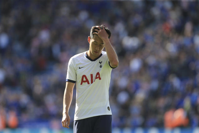 Tottenham's Son Heung-min reacts after his side lost to Leicester 2-1 in the English Premier League soccer match between Leicester City and Tottenham Hotspur at the King Power Stadium in Leicester, England, Saturday, Sept. 21, 2019. (AP Photo/Leila Coker)