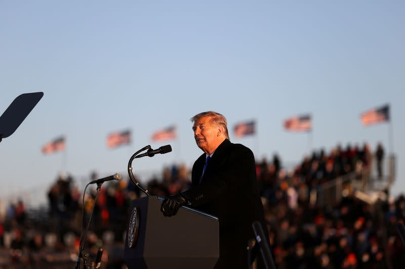 FILE PHOTO: U.S. President Trump holds a campaign in West Salem, Wisconsin