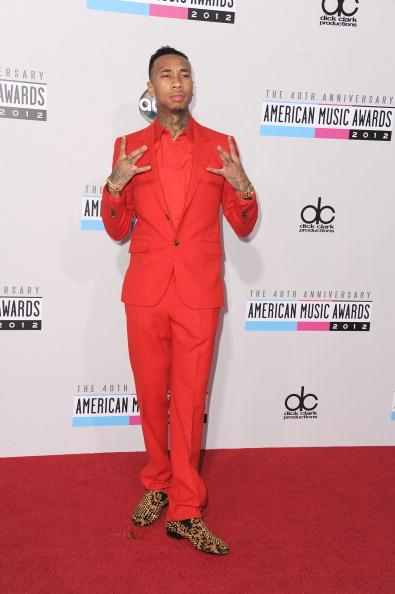 Tyga arrives on the 2012 American Music Awards red carpet.