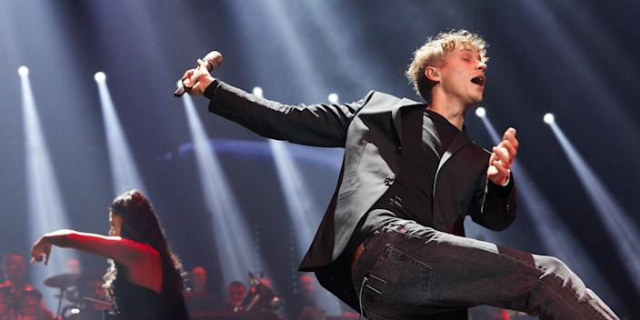 """The singer Tim Bendzko onstage at the tour kickoff of """"Night of the Proms"""" in the Barclaycard Arena."""