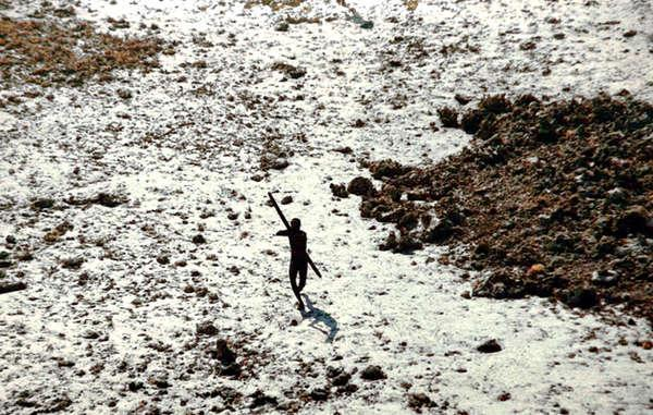 This member of the Sentinelese tribe was photographed firing arrows at a helicopter which was sent to check up on the tribe in the wake of a 2004 tsunami (Survival International)