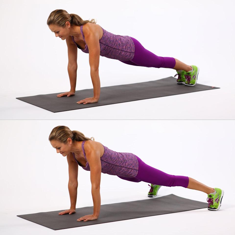 """<p>""""Plank jacks are the ultimate calorie burner and a great full body workout,"""" Sedano said. Your entire core is getting a workout as it stabilizes your body, and your arms will be shaking holding you up. Meanwhile, the jumping will get your heart rate up fast, a solid combination to help you torch calories. To modify, Sedano suggests stepping one foot out a time instead of jumping.</p> <ul> <li>Start on your hands and knees, shoulders directly over wrists and hips directly over knees. Extend your legs out behind you, feet together and heels over toes. Brace your core by pulling your abs in toward your spine. This is your starting position.</li> <li>Jump both feet out to the side simultaneously, like you're doing a jumping jack. Keep your core tight and arms stable, shoulders over wrists.</li> <li>Jump your feet back to the starting position.</li> <li>This completes one rep.</li> </ul>"""