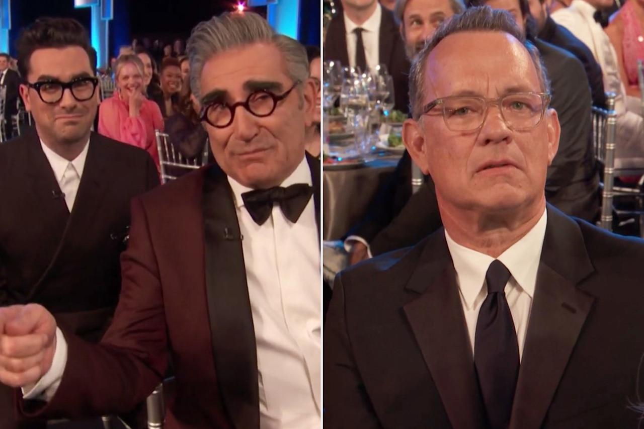 """The big night kicked off with the customary <a href=""""https://people.com/tv/sag-awards-2020-i-am-actor-opening/"""">""""I am an actor"""" segment</a>, in which stars share anecdotes about what got them into acting. <em>Schitt's Creek's </em>Eugene Levy took his turn on camera to relay a long-winded tale while his costar and son, Dan, cringed in the background. After several minutes, Dan interrupted Eugene to say that he was taking so long they had to skip Tom Hanks.  """"That's okay, Tom's a good guy. He'll take it well,"""" Eugene replied, as the camera panned to an unhappy-looking Hanks.  The Levys remained in the spotlight to introduce the night's first nominees; who needs a host when you've got Canada's favorite family on hand?"""