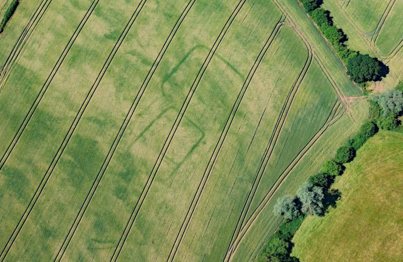 Newly discovered crop marks showing the outline of a prehistoric or Roman farm near Langstone, Newport, south Wales (RCAHMW/SWNS)