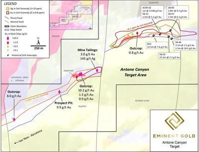 Figure 5. Small scale map of the Antone Canyon target area forming the central domain of Spanish Moon. The map displays anomalous high-grade Au in rock samples along with their respective source location. (CNW Group/Eminent Gold Corp.)