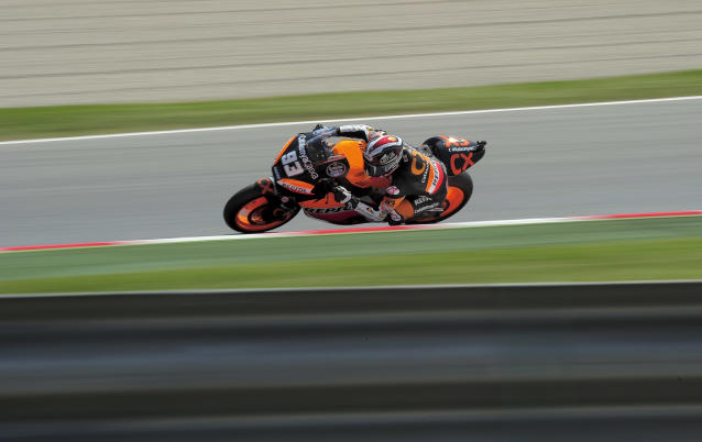 Team Catalunyacaixa Repsol's Spanish Marc Marquez rides during the first preactice session of the Catalunya racetrack in Montmelo, near Barcelona, on June 1, 2012, during the Moto2 second training session of the Catalunya Moto GP Grand Prix. AFP PHOTO / JOSEP LAGOJOSEP LAGO/AFP/GettyImages
