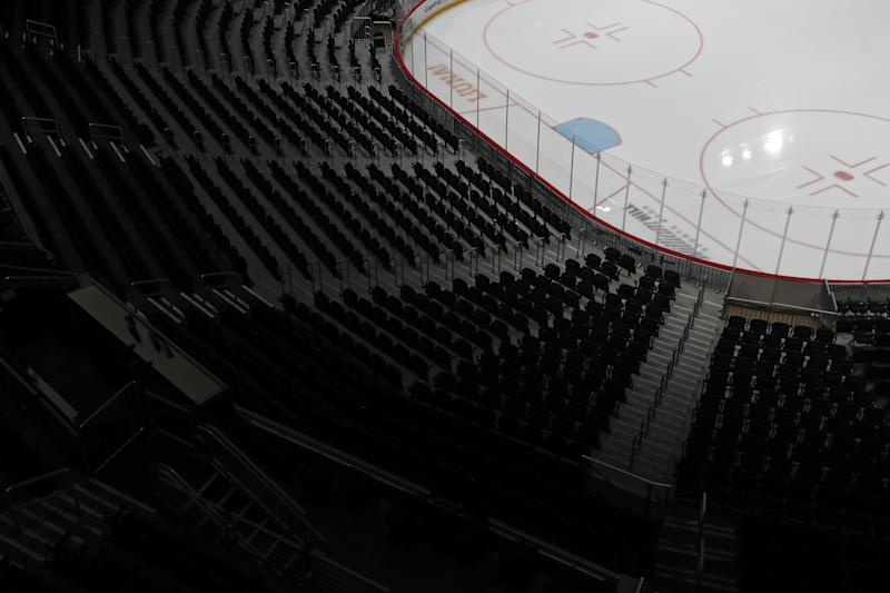 WASHINGTON, DC - MARCH 12: The ice and spectator seating is empty prior to the Detroit Red Wings playing against the Washington Capitals at Capital One Arena on March 12, 2020 in Washington, DC. Yesterday, the NBA suspended their season until further notice after a Utah Jazz player tested positive for the coronavirus (COVID-19). The NHL said per a release, that the uncertainty regarding next steps regarding the coronavirus, Clubs were advised not to conduct morning skates, practices or team meetings today. (Photo by Patrick Smith/Getty Images)