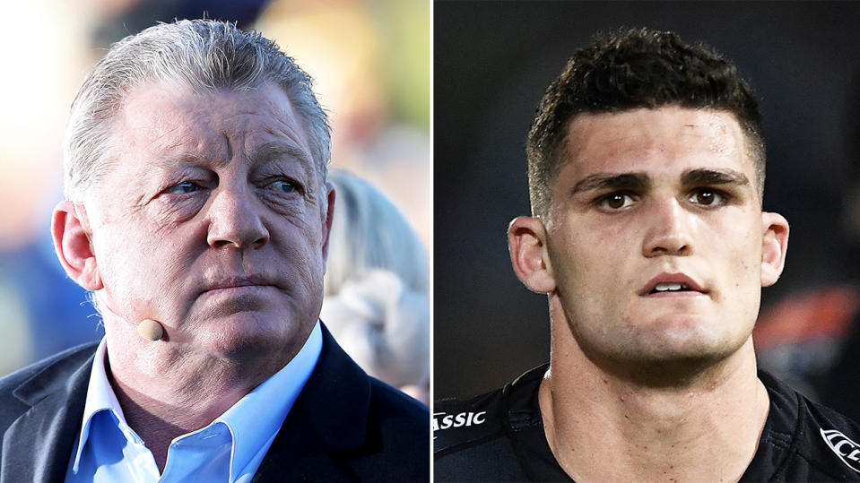Phil Gould (pictured left) waiting to broadcast and Nathan Cleary (pictured right) looking dejected.