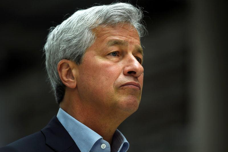 FILE PHOTO:JP Morgan CEO Jamie Dimon speaks at a Remain in the EU campaign event attended by Britain's Chancellor of the Exchequer George Osborne (not shown) at JP Morgan's corporate centre in Bournemouth