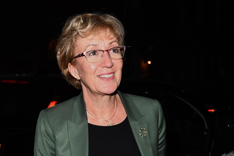 """Andrea Leadsom arrives at her home in London, she has resigned, saying in a letter to Theresa May """"I no longer believe that our approach will deliver on the referendum result""""."""