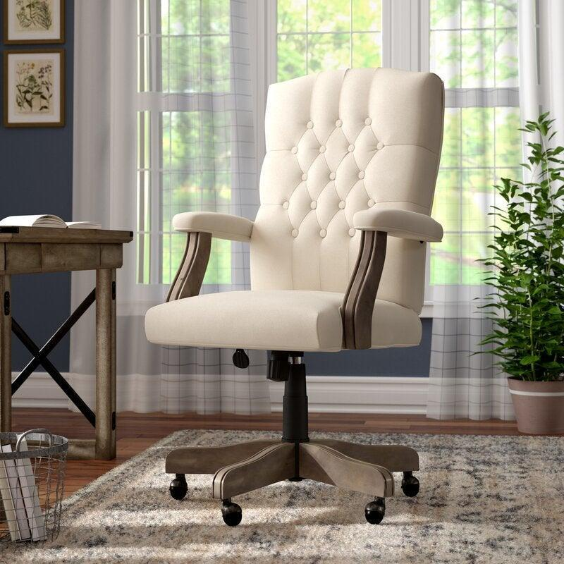 """<h2>Laurel Foundry Modern Farmhouse State Line Velvet Executive Chair</h2><br><strong>Best For: Multi-Functional Design</strong><br>This stylish executive chair features a high back, armrests, and a lumbar support pillow. Plus, the champagne-hued velvet upholstery and wooden swivel feet makes this fashionable enough to blend seamlessly into your living room decor. <br><br><strong>The Hype: </strong>4.5 out of 5 stars and 3,026 reviews on <a href=""""https://www.wayfair.com/furniture/pdp/gold-flamingo-brandle-task-chair-w005269594.html"""" rel=""""nofollow noopener"""" target=""""_blank"""" data-ylk=""""slk:Wayfair"""" class=""""link rapid-noclick-resp"""">Wayfair</a><br><br><strong>Comfy Butts Say: </strong>""""This office chair is gorgeous! It is exactly what I wanted for my office to balance out the industrial vibe of the desk I purchased. It was easy to put together, taking about 20 minutes with my husband, and very comfortable to sit in for hours.""""<br><br><strong>Laurel Foundry Modern Farmhouse</strong> State Line Velvet Executive Chair, $, available at <a href=""""https://go.skimresources.com/?id=30283X879131&url=https%3A%2F%2Fwayfair.com%2Ffurniture%2Fpdp%2Fstate-line-velvet-executive-chair-lfmf3426.html"""" rel=""""nofollow noopener"""" target=""""_blank"""" data-ylk=""""slk:Wayfair"""" class=""""link rapid-noclick-resp"""">Wayfair</a>"""