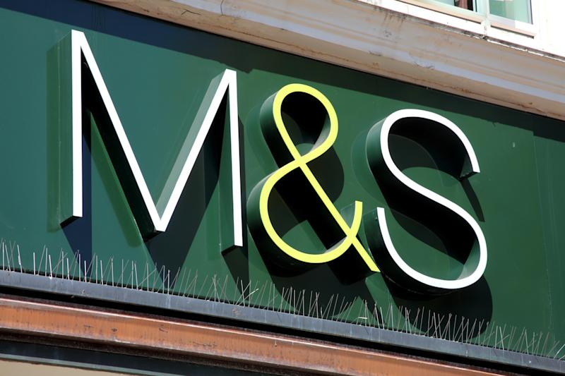 London, United Kingdom, Apr 22, 2011 : Marks & Spencer (M & S) logo advertising sign outside one of its retail supermarket stores in London city centre
