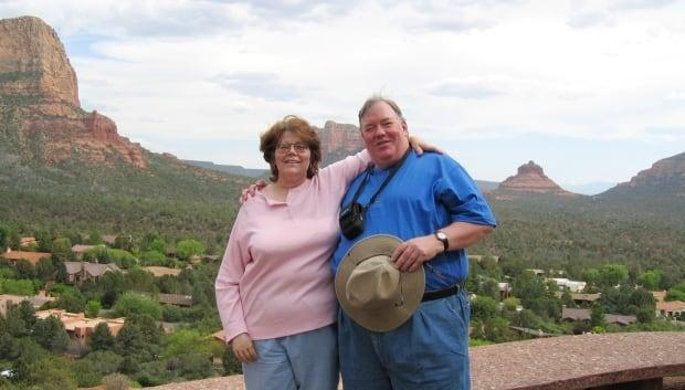 Diane and Tim Ledvina pose for a photo on a trip to Arizona. The couple donated $4.8 million to the Queens General Hospital Foundation. (Tom Ledvina - image credit)