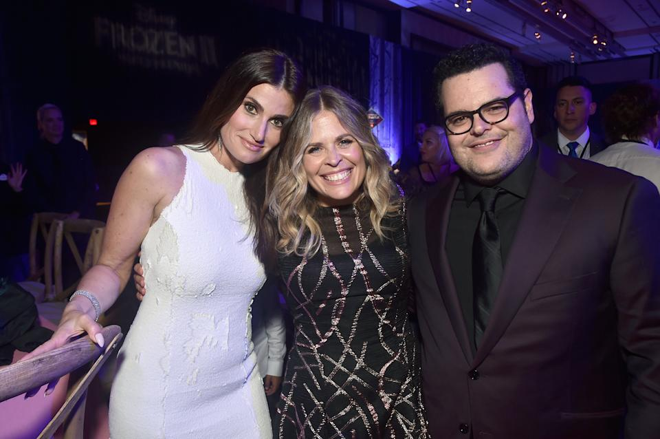 """HOLLYWOOD, CALIFORNIA - NOVEMBER 07: (L-R) Actress Idina Menzel, Director/writer/Walt Disney Animation Studios CCO Jennifer Lee, and actor Josh Gad attend the world premiere of Disney's """"Frozen 2"""" at Hollywood's Dolby Theatre on Thursday, November 7, 2019 in Hollywood, California. (Photo by Alberto E. Rodriguez/Getty Images for Disney)"""