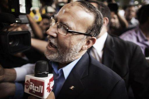 Issam al-Eryan, an Egyptian Muslim Brotherhood leader, arrives to a hotel in Cairo for talks