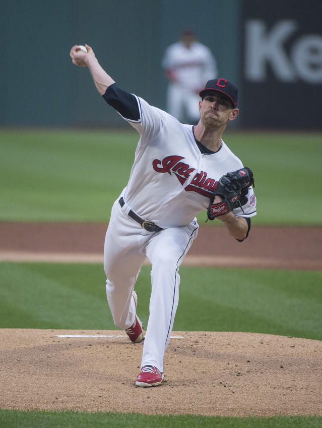 Cleveland Indians starting pitcher Shane Bieber delivers to Seattle Mariners' Daniel Vogelbach during a baseball game in Cleveland, Friday, May 3, 2019. (AP Photo/Phil Long)