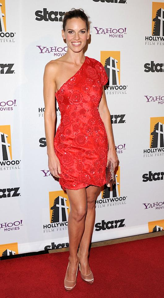 """<a href=""""http://movies.yahoo.com/movie/contributor/1800020739"""">Hilary Swank</a> attends the 14th Annual Hollywood Awards Gala at the Beverly Hilton Hotel on October 25, 2010."""