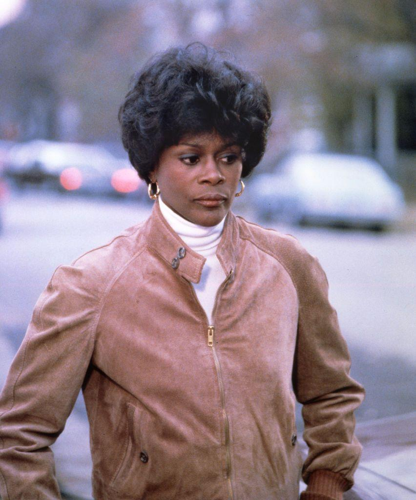 <p>Cicely poses in hoops, a white turtleneck, and a suede jacket while playing Marva Collins in the Hallmark tv movie. Cicely was nominated for a primetime Emmy for playing Collins, a Black school teacher who starts her own school after increasing dissatisfaction with the Chicago school system. </p>