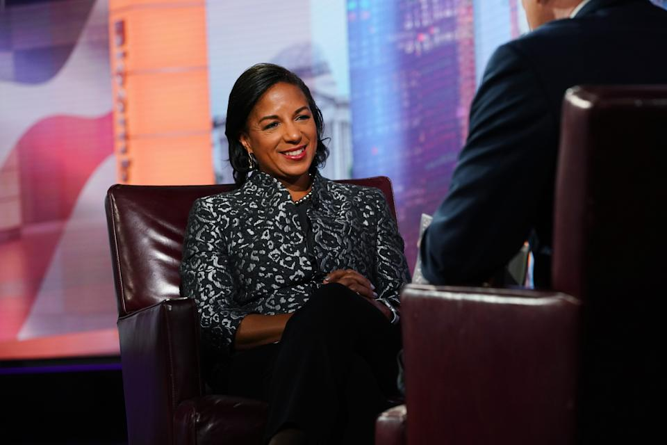 Susan Rice smiles during a Bloomberg Television interview