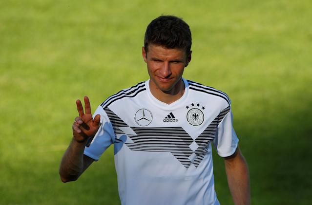 Soccer Football - FIFA World Cup - Germany Training - Eppan, Italy - May 26, 2018 Germany's Thomas Muller during training REUTERS/Leonhard Foeger