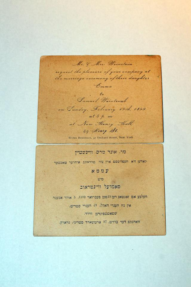 <p>This wedding invitation was donated to the museum in 2010 by Leon Weintraub and Ada Finifter, the grandchildren of Emma Weinstein and Samuel Weintraub. Emma Weinstein lived at 97 Orchard St. (Photo: Caters News) </p>