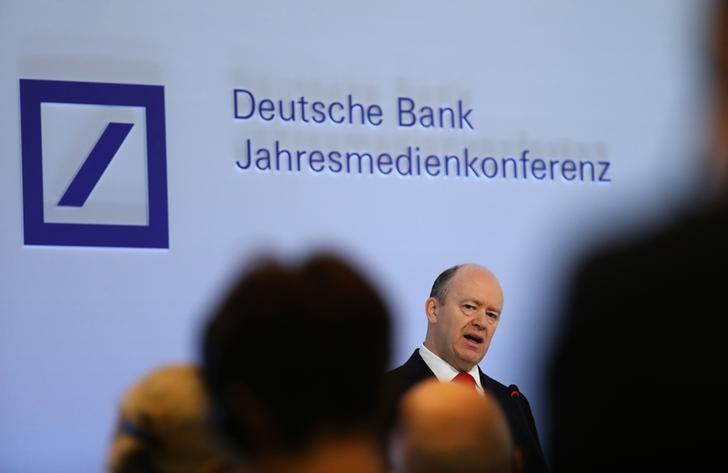 Deutsche Bank CEO Cryan addresses the bank's annual news conference in Frankfurt