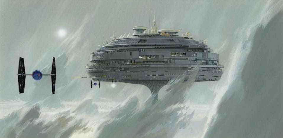"<p>""The most substantial example of [recycling unused art] is probably the Imperial city of Alderaan, which was present in Lucas's second draft of the screenplay,"" says Alinger. ""It was one of the first production paintings McQuarrie completed for 'Star Wars,' but was not seen in the film. The floating city re-emerged as Cloud City in 'The Empire Strikes Back.'"" (McQuarrie later revised this image to include ""fin-winged"" Imperial fighters.) </p>"