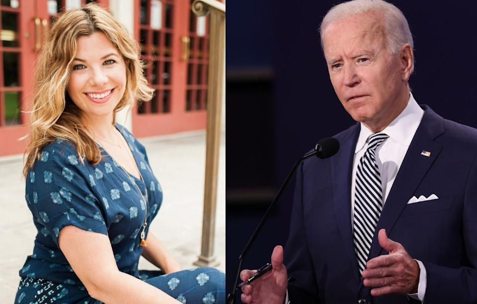 Rebecca Soffer, the CEO of Modern Loss, wrote an open letter to President Biden urging his administration to implement a National Bereavement Policy. (Photos: Left, Rebecca Soffer, Courtest; Right, President Joe Biden, Getty Images)