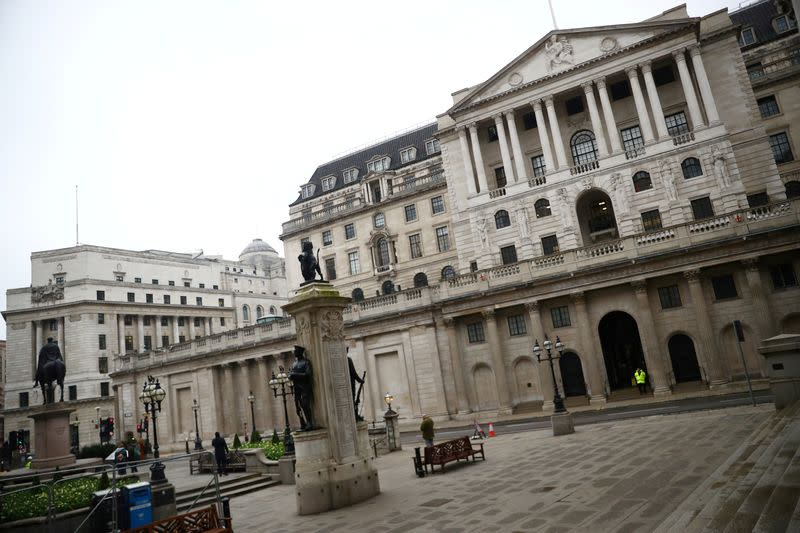 FILE PHOTO: A general view of The Bank of England and the Royal Exchange