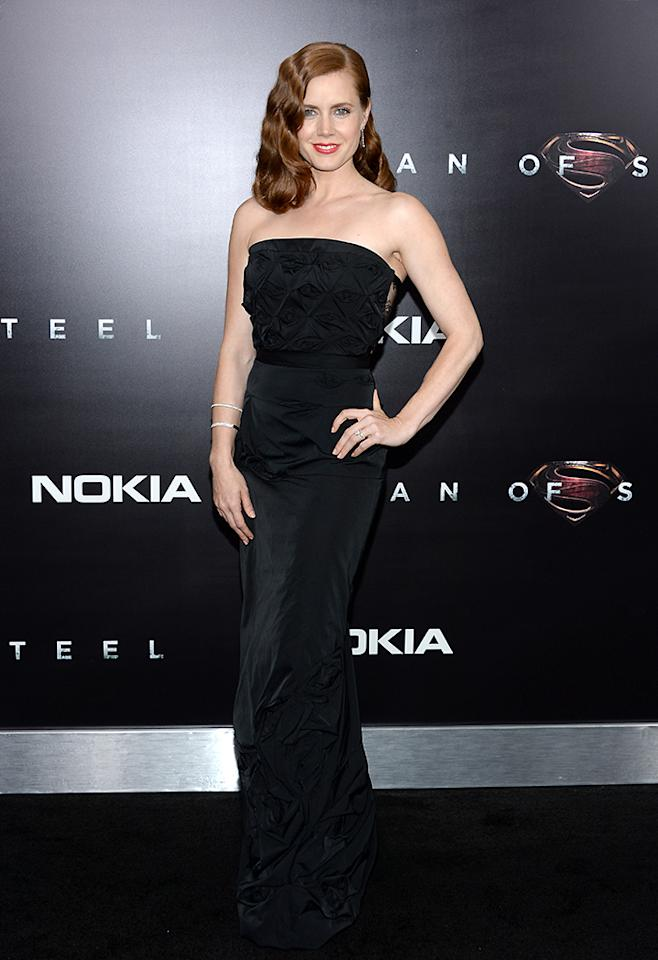 "NEW YORK, NY - JUNE 10:  Actress Amy Adams attends the ""Man Of Steel"" world premiere at Alice Tully Hall at Lincoln Center on June 10, 2013 in New York City.  (Photo by Dimitrios Kambouris/WireImage)"