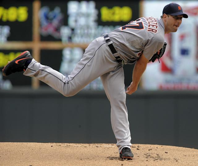 Detroit Tigers' Max Scherzer pitches against the Minnesota Twins during the first inning of a baseball game Sunday, Aug. 24, 2014, in Minneapolis. (AP Photo/Tom Olmscheid)