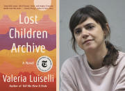 """This combination of photos shows the cover image shows """"Lost Children Archive,"""" left, and a portrait of author Valeria Luiselli. (Vintage via AP, left, and Angel Soto via AP))"""