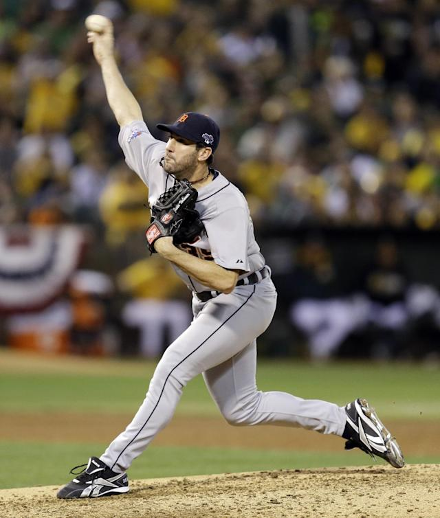 Detroit Tigers pitcher Justin Verlander (35) delivers a pitch in the fifth inning of Game 5 of an American League baseball division series against the Oakland Athletics in Oakland, Calif., Thursday, Oct. 10, 2013. (AP Photo/Ben Margot)