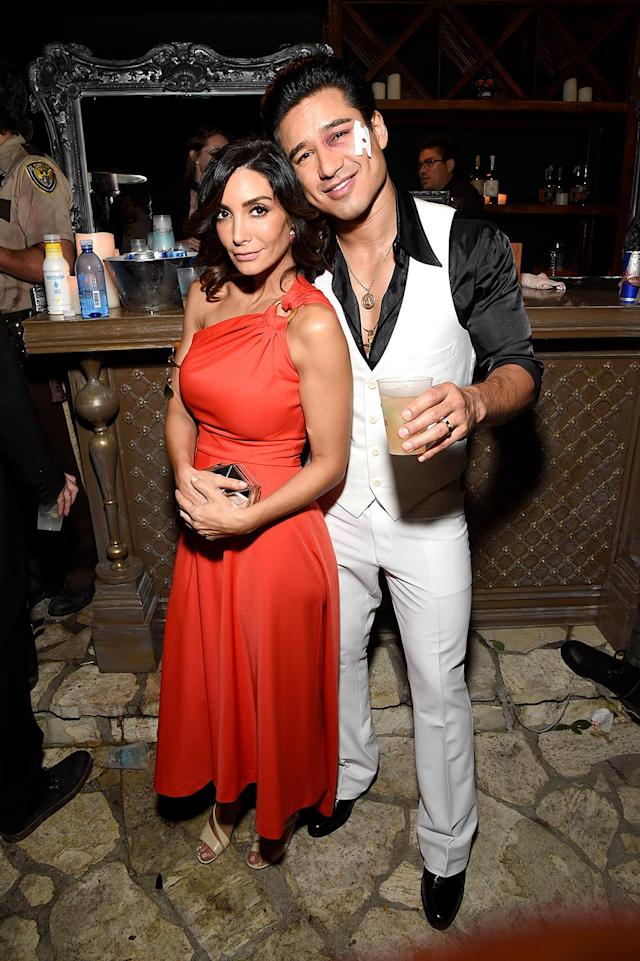 <p>Disco Inferno! We hope the <i>Extra</i> host and his wife, Courtney, took over the dance floor as <i>Saturday Night Fever</i>'s Tony Manero and Stephanie Mangano. (Photo: Michael Kovac/Getty Images) </p>