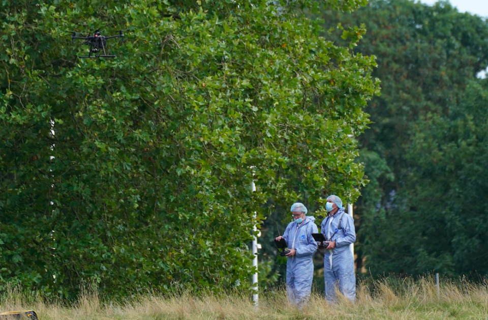 Forensic Officers in Cator Park, Kidbrooke, south London, close to the scene where the body of Sabina Nessa was found. (PA)