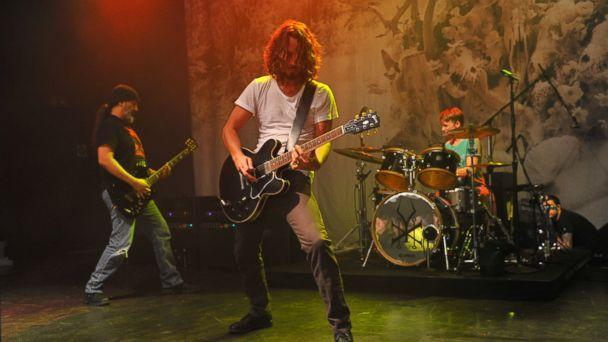 PHOTO: Kim Thayil, Chris Cornell and Matt Cameron of Soundgarden perform on stage at Shepherds Bush Empire, Nov. 9, 2012, in London. (C Brandon/Redferns via Getty Images)