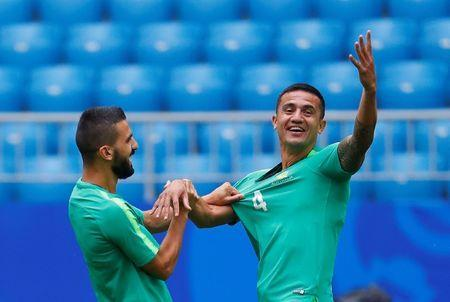 Soccer Football - World Cup - Australia Training - Samara Arena, Samara, Russia - June 20, 2018 Australia's Tim Cahill and Aziz Behich during training REUTERS/David Gray
