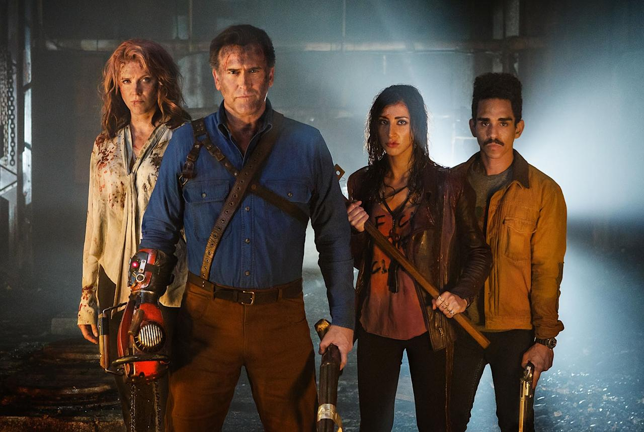 <p>'Evil Dead' fans had spent years bemoaning the non-arrival of a fourth film: this serialised sequel, bringing back Bruce Campbell as the central deadite slayer, has proved more than enough to fill that gap. (Credit: 20th Century Fox) </p>