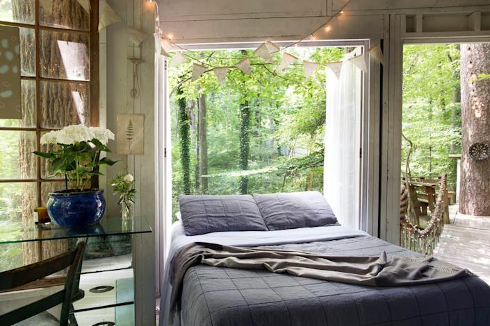 """<h2><a href=""""http://airbnb.pvxt.net/qemLL"""" rel=""""nofollow noopener"""" target=""""_blank"""" data-ylk=""""slk:Secluded Intown Treehouse"""" class=""""link rapid-noclick-resp"""">Secluded Intown Treehouse</a></h2><br><strong>Summary:</strong> """"Centrally located within the heart of Atlanta, the treehouses are a hidden gem. Often described as being the most relaxing, romantic, dreamy, and unique place you'll ever stay. What could be better than falling asleep in the trees and waking up to birds singing around you--all within the city limits?""""<br><br><strong>Location: </strong>Atlanta, GA<br><strong>Sleeps: </strong>2<br><strong>Price Per Night: </strong>$389<br><br><strong><em><a href=""""http://airbnb.pvxt.net/qemLL"""" rel=""""nofollow noopener"""" target=""""_blank"""" data-ylk=""""slk:Book Now"""" class=""""link rapid-noclick-resp"""">Book Now</a></em></strong><span class=""""copyright"""">Photo: Courtesy of Airbnb.</span>"""