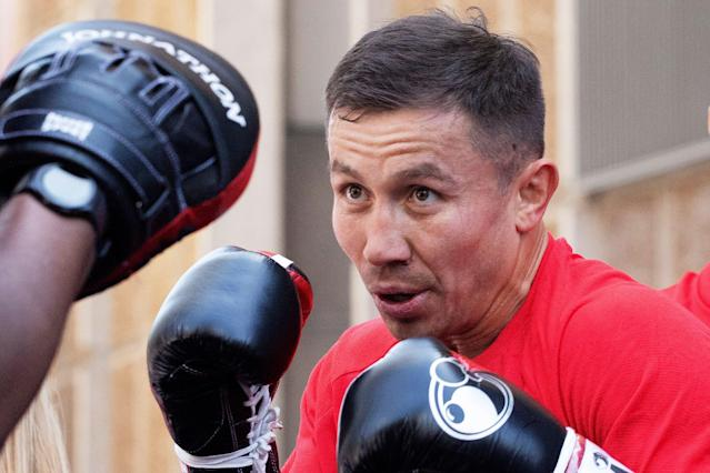 Gennadiy Golovkin boxes during a workout Tuesday, June 4, 2019, in New York. Golovkin faces Steve Rolls in a middleweight bout on Saturday. (AP Photo/Mark Lennihan)