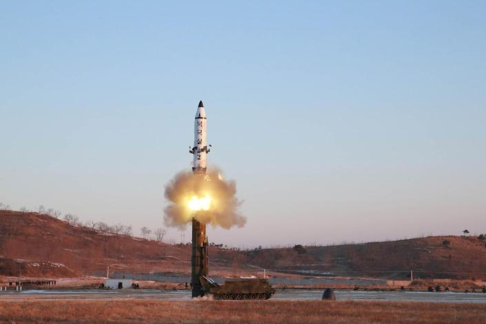 <p>A North Korean Pukguksong-2 guided missile is test fired in this undated photo. (KCNA/Reuters) </p>
