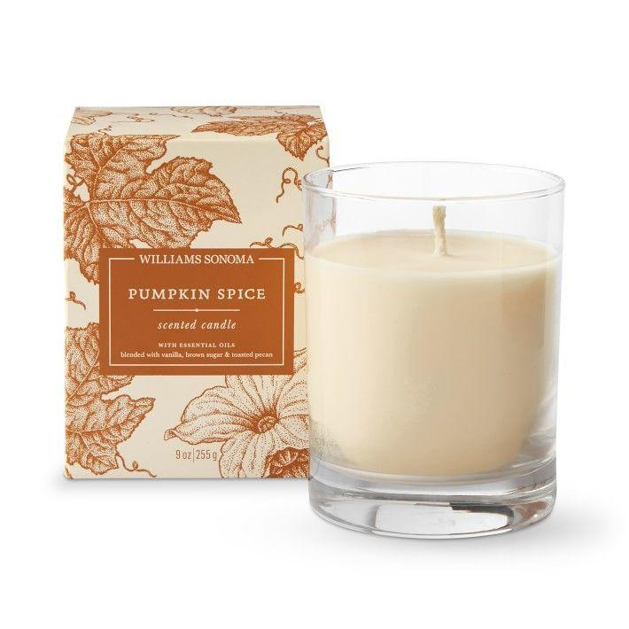 """<p><strong>Williams-Sonoma</strong></p><p>williams-sonoma.com</p><p><strong>$19.95</strong></p><p><a href=""""https://go.redirectingat.com?id=74968X1596630&url=https%3A%2F%2Fwww.williams-sonoma.com%2Fproducts%2Fwilliams-sonoma-pumpkin-spice-candle&sref=https%3A%2F%2Fwww.bestproducts.com%2Fhome%2Fg37377249%2Fbest-pumpkin-candles%2F"""" rel=""""nofollow noopener"""" target=""""_blank"""" data-ylk=""""slk:Shop Now"""" class=""""link rapid-noclick-resp"""">Shop Now</a></p><p>Live every day like it's the first day of fall. Williams-Sonoma's Pumpkin Spice candle is very understated for year-round display — no orange glass or pumpkin shapes here! And the scent is lovely, too.</p><p>Comprising a blend of beeswax and vegetable wax, it smells of cinnamon, ginger, and cloves.</p>"""