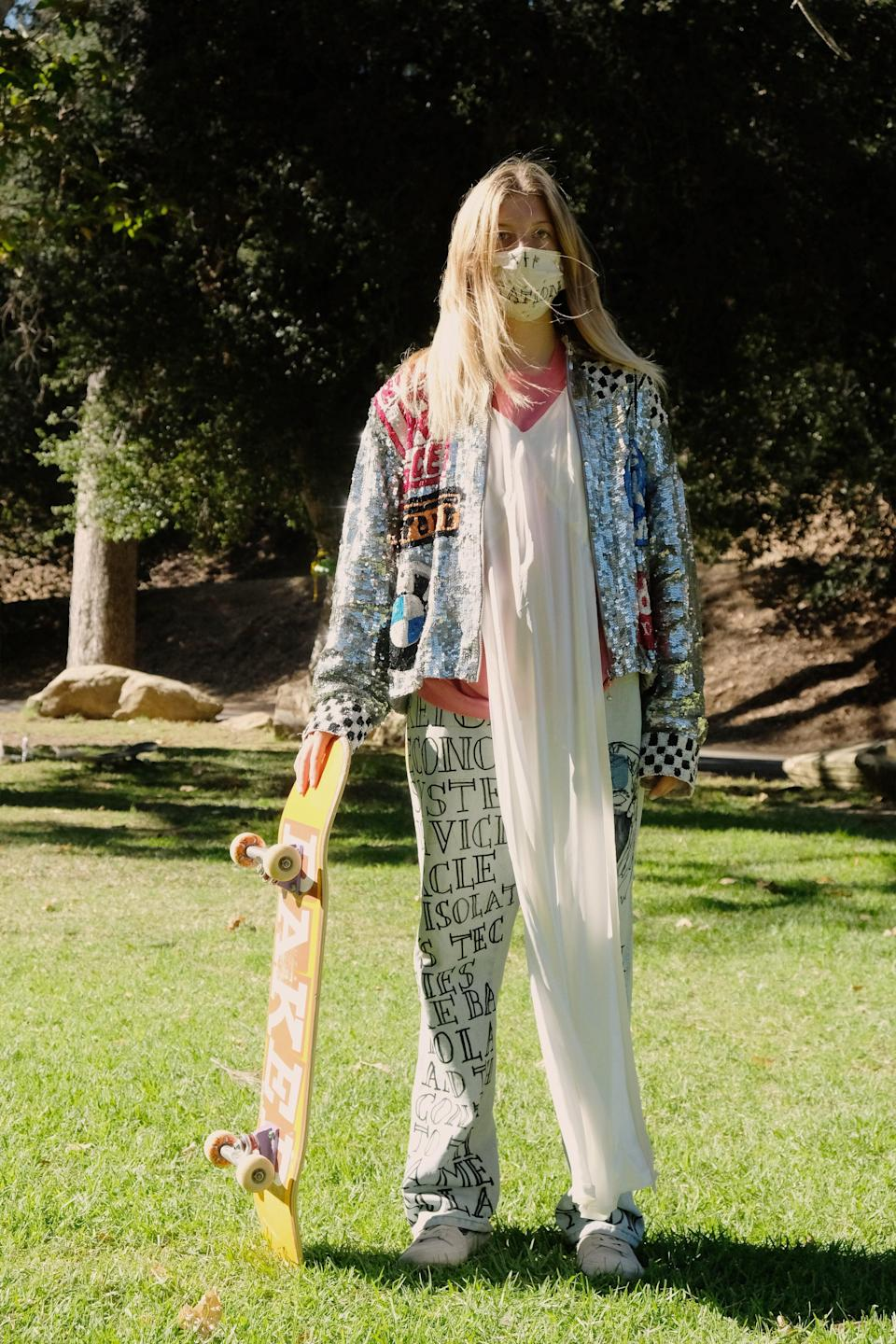 """<h2>Imitation of Christ</h2><br>For its long-awaited return to NYFW, LA-based brand Imitation of Christ highlighted the women of skateboarding, a sport typically dominated by men. In the campaign video, female skaters can be seen riding and performing tricks throughout the California metropolis, all the while wearing IOC garb and masks, thus proving that you can, in fact, <a href=""""https://www.refinery29.com/en-gb/2020/07/9932275/breathable-face-mask-for-running"""" rel=""""nofollow noopener"""" target=""""_blank"""" data-ylk=""""slk:wear a mask while you exercise"""" class=""""link rapid-noclick-resp"""">wear a mask while you exercise</a>. <span class=""""copyright"""">Photo Courtesy of Imitation of Christ.</span>"""