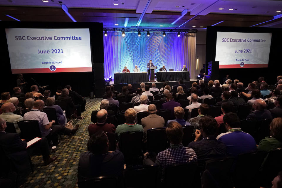 Dr. Ronnie Floyd, president and CEO of the executive committee of the Southern Baptist Convention, speaks during the executive committee plenary meeting at the denomination's annual meeting Monday, June 14, 2021, in Nashville, Tenn. (AP Photo/Mark Humphrey)