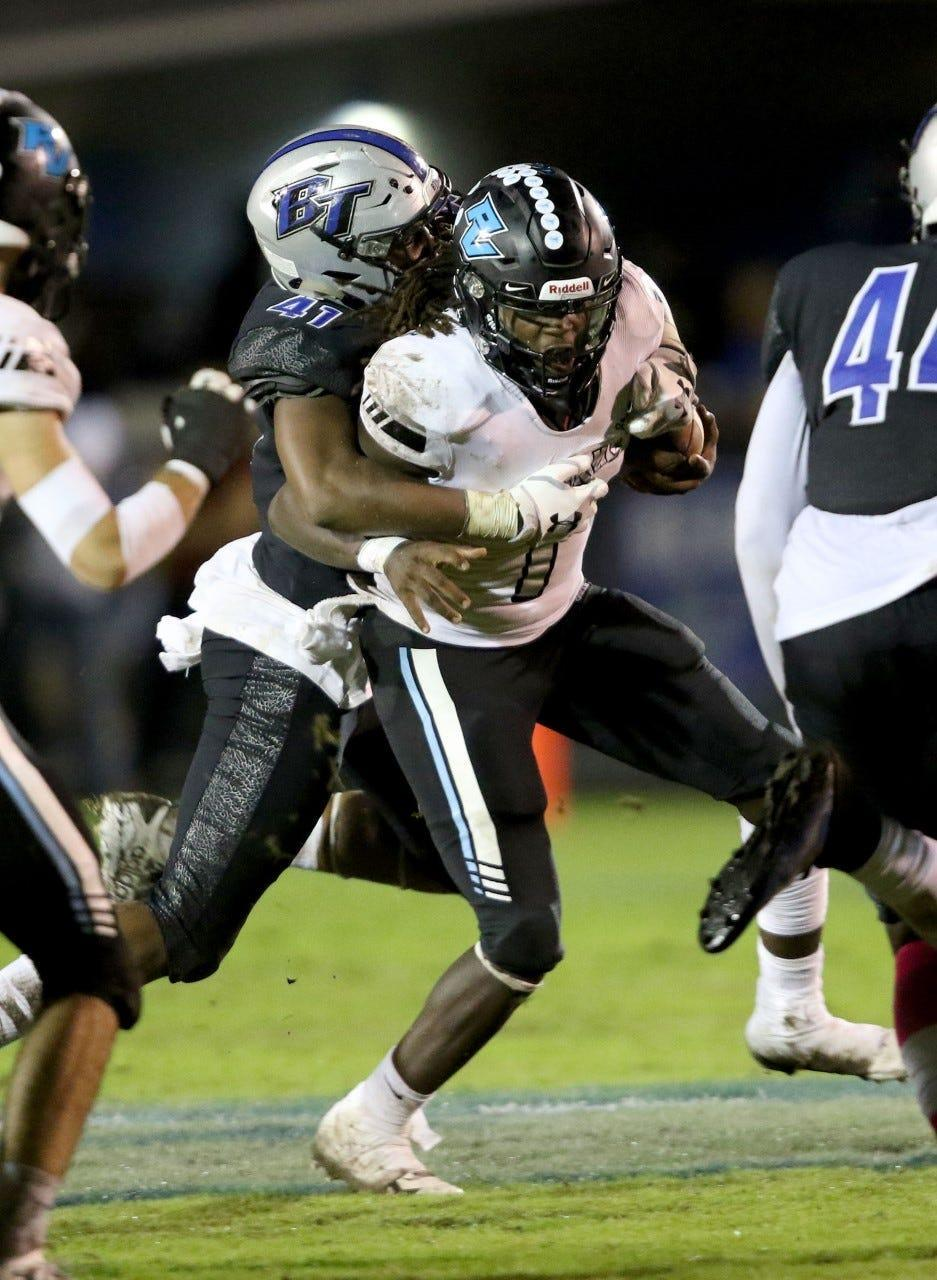 Bartram Trail safety Micah Pollard (41) brings down Ponte Vedra quarterback Jacobi Myers in the third quarter. Myers left the game with a broken leg. Bartram won the game 33-17.